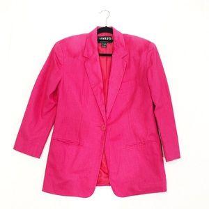 Vintage Adolfo Pink Linen Blend Blazer